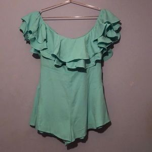 Mint Green Ruffled Off The Shoulder Romper